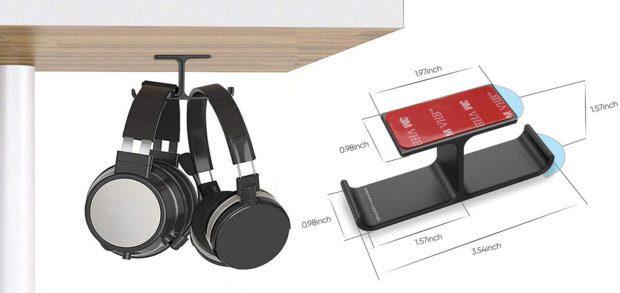 Die APPHOME Kopfhörer-Aufhängung mit 3M Klebestreifen und Schrauben trägt Kopfhörer, Headsets, Kabel und andere Artikel bis zu 5 kg. Praktisches Design und Funktionalität treffen auf kleinen Preis. Bilder: Amazon