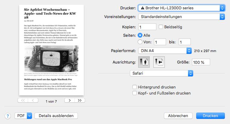 Druckvorschau im Reader-Modus von Safari: Schön leserlich aufbereitet.