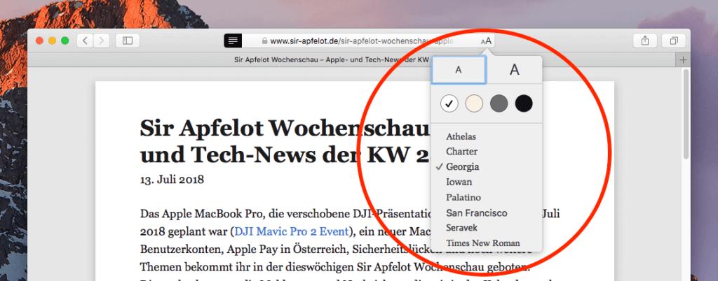 Schriftmenü im Reader-Modus von Safari.