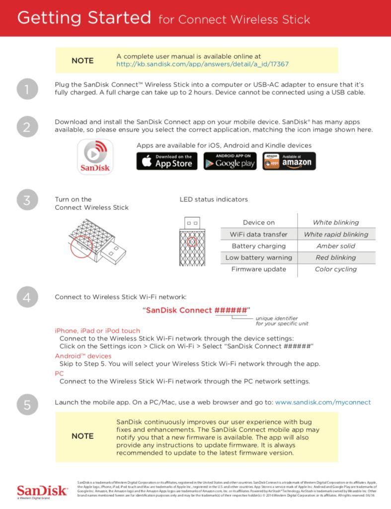 Schnellstart-Kurzanleitung für den SanDisk Connect Wireless Stick – Screenshot aus dem PDF (Quelle: sandisk.com).