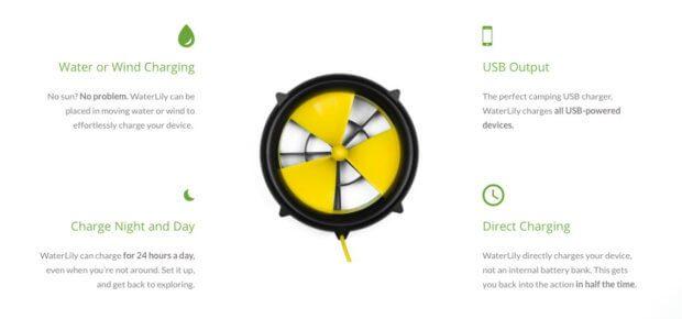Die WaterLily Turbine ist ein Outdoor-Ladegerät mit 5V und max. 15W für Smartphone, GPS, Kamera und Co. Antrieb über Wind, Wasser und Kurbel möglich.
