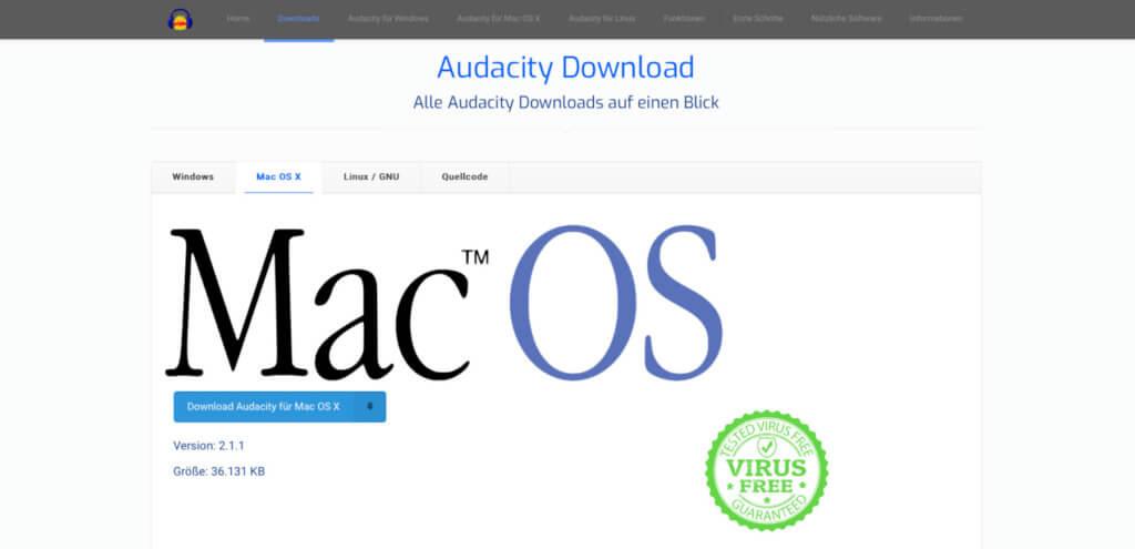 Vor dem Aufnehmen, Bearbeiten, Mischen und Ausgeben stehen Download und Installation. Ihr solltet die Audacity App nur vom Entwickler runterladen.