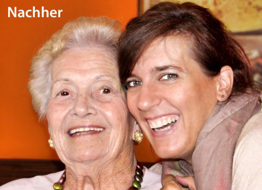 Und das Nachher-Foto: Zahnaufhellung, Augenvergrößerung bei der älteren Dame und eine Haut-Retusche sind hier deutlich zu erkennen.
