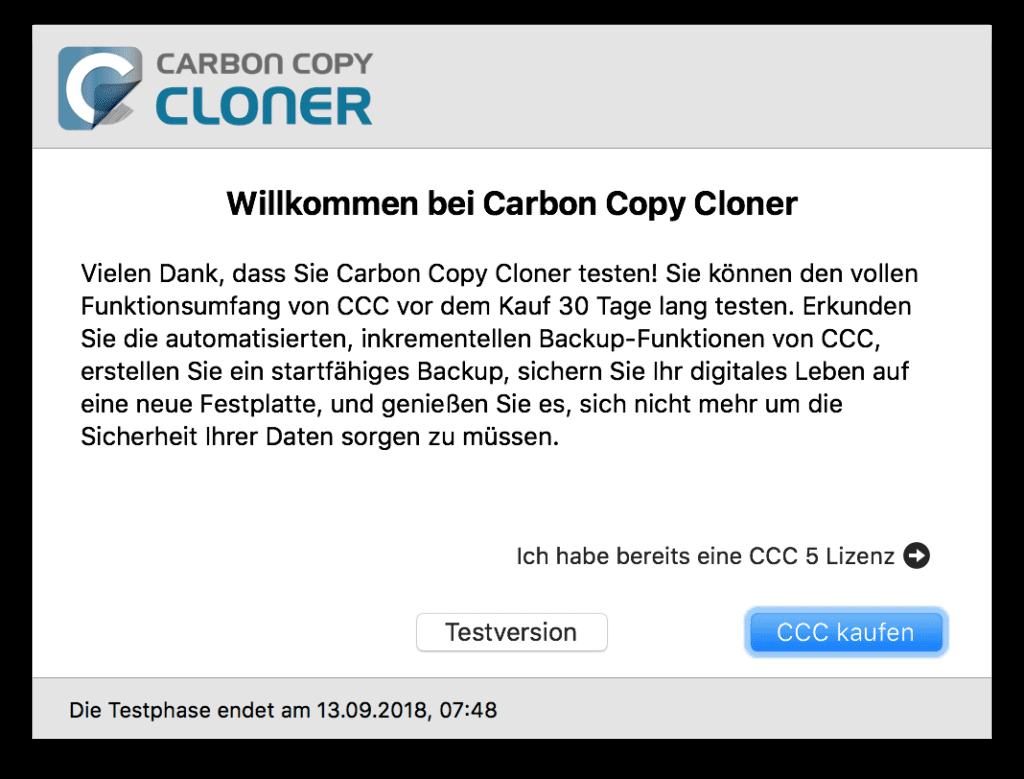 30 Tage Testversionvon Carbon Copy Cloner