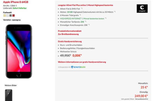 Das Angebot auf der Aktionsseite: Apple iPhone 8 (64 GB) mit Congstar Allnet Flat Plus Online - alles für effektiv nur 9,50 EUR / Monat. Tatsächliche Kosten: 25 EUR / Monat.