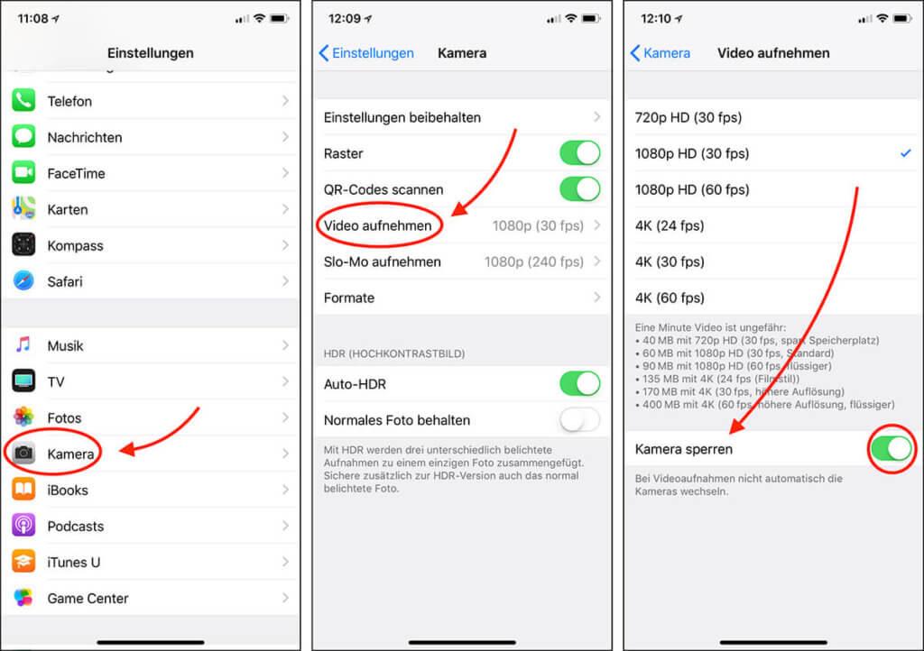 Hier findet man in den Einstellungen am iPhone den Weg zur Option, die automatische Auswahl der Kameraobjektive zu sperren (Screenshot von iOS 11).
