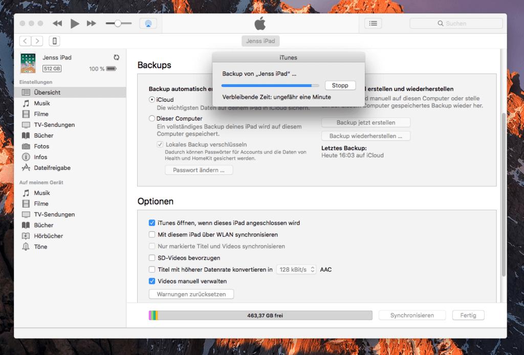 """Am Ende konnte ich ein Backup machen. Doch bis dahin habe ich mich mit Hilfe-Anleitungen zum Thema """"iTunes am Mac erkennt iPhone oder iPad nicht"""" herumgeschlagen. Die richtige Lösung für das Problem kam mir dann selber ein."""