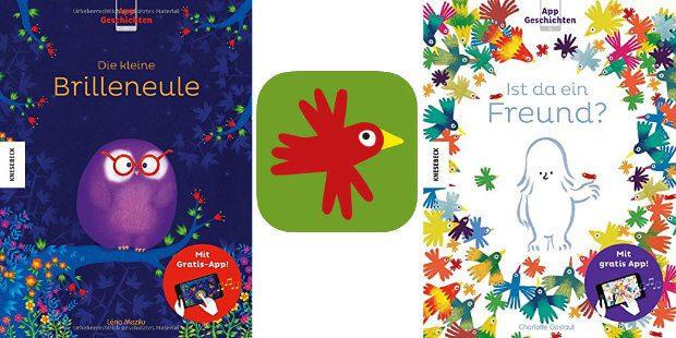 """Die zwei Bücher """"Die kleine Brilleneule"""" und """"Ist da ein Freund?"""" sowie das App-Symbol."""