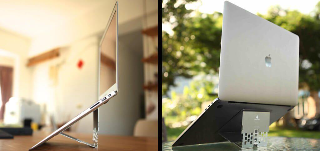 Der Majextand Laptopständer fürs Apple MacBook ist extrem dünn und leicht. Ideales Gadget für Urlaub, Reise und mobiles Büro von digitalen Nomaden. Bilderquelle: Majextand.com