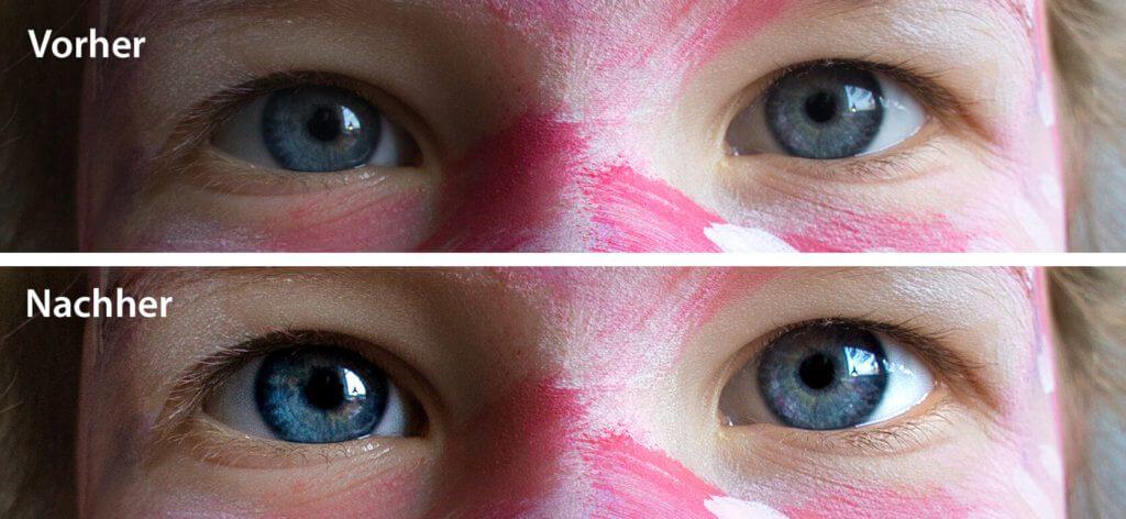 Die Augenoptimierung von Photolemur vergrößert die Augen etwas. Die restliche Optimierung stellt die Struktur der Iris heraus und hellt das Weiße im Auge auf. Wem das zu unnatürlich erscheint, kann dieses Feature auch abschalten.