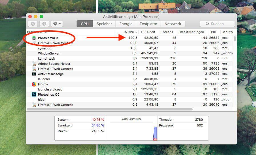 Die vielen automatischen Optimierungen kosten natürlich ordentlich Rechenpower: Wenn Photolemur beschäftigt ist, kommt es selbst bei meinem MacBook Pro 2017 auf 400-500% CPU-Auslastung.
