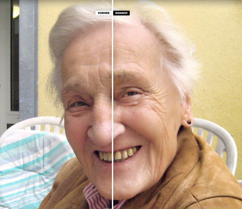 Die Wirkung der Haut-Retusche ist nicht zu übersehen. Die Haut wirkt im rechten Bereich glatter und weniger porig. Die Zahnaufhellung hat dagegen aus meiner Sicht nicht gegriffen (Foto: Geralt/Pixabay).
