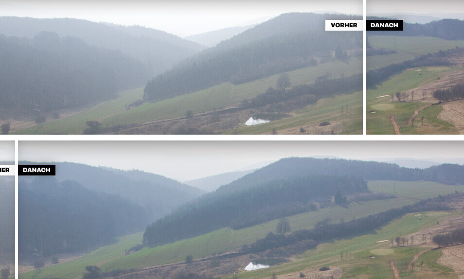 Der Dehaze-Filter sorgt dafür, dass Bildbereiche, die von Dunst betroffen sind, etwas verstärkt werden, um sie damit sichtbarer zu machen.