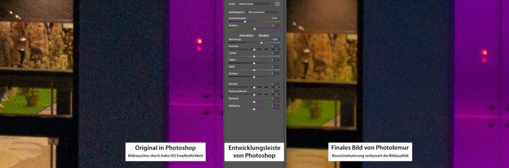 Hier sieht man gut (im Vergleich links gegen rechts), wie Photolemur auch Bildrauschen entfernt, das durch hohe ISO-Werte in dunklen Bereichen auftritt.