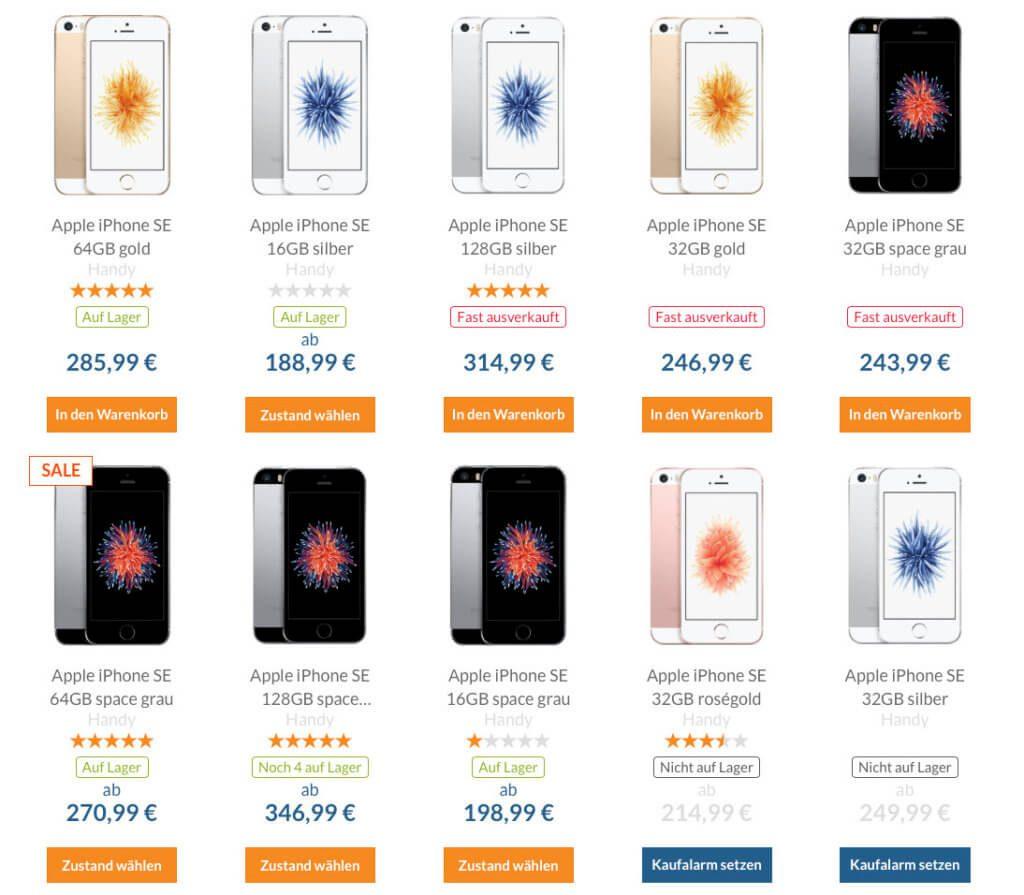 Die iPhone-Auswahl bei reBuy. Nicht immer ist das gewünschte Produkt auf Lager. Neben iPhones gibt es auch noch viele andere Produkte - schaut mal rein ;)