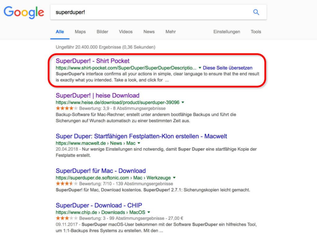 Den SuperDuper! Download solltet ihr nur von der Entwickler-Webseite (Shirt Pocket) in Anspruch nehmen. Super Duper CHIP, heise, Softonic