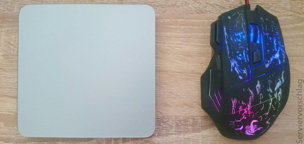 Kann man Magic Mouse und Magic Trackpad gleichzeitig nutzen? Ja, man kann am Mac parallel verschiedene Eingabegeräte - auch über Bluetooth - verwenden. Im Bild: Logitech Touchpad und AUKEY Maus als kostengünstige Veranschaulichung ;)