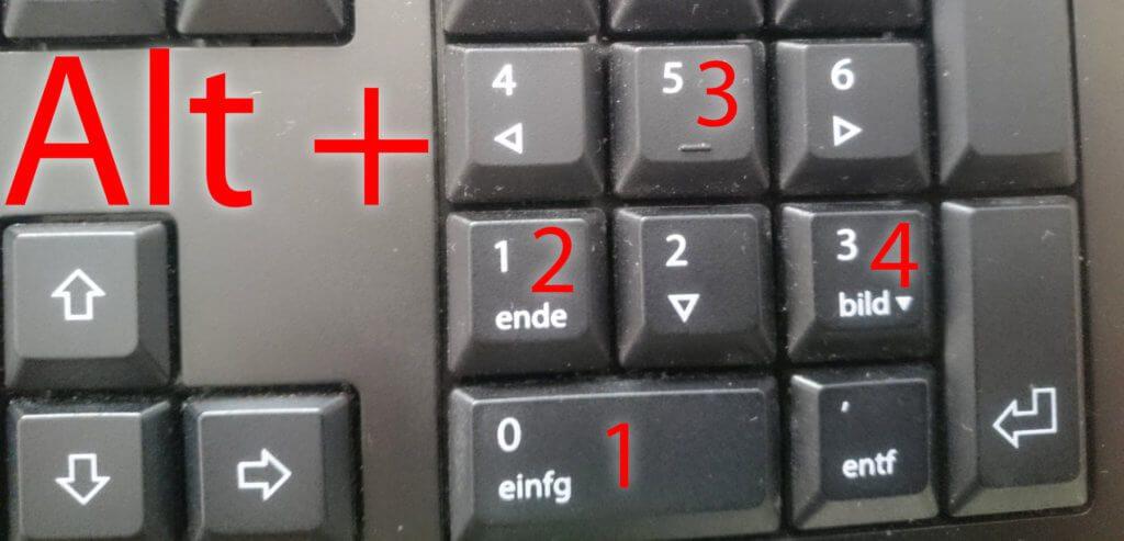 TM am Windows PC geht einerseits mit Alt+0+1+5+3 ...