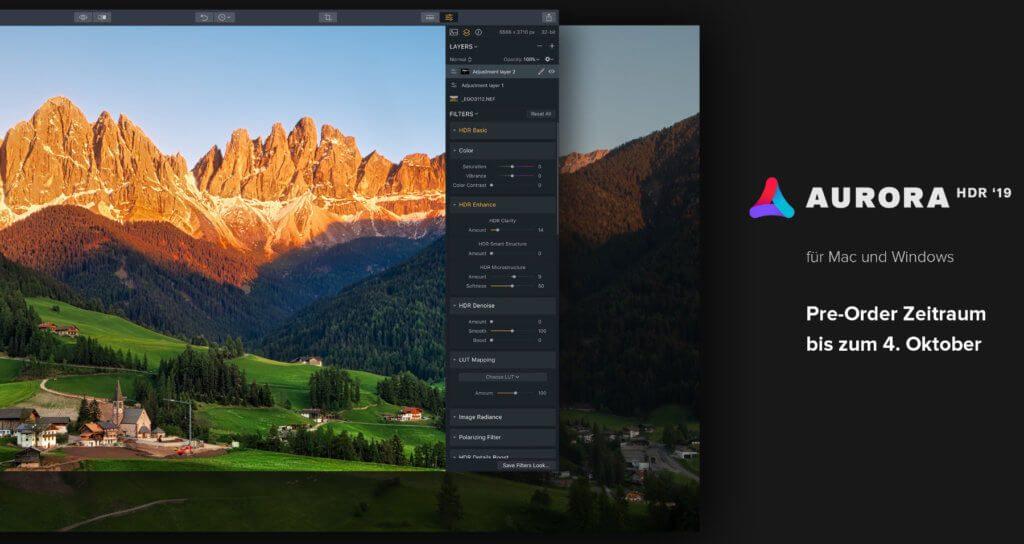 Skylum Aurora HDR 2019 für Mac und Windows vorbestellen - das geht ab heute! Bis zum 4. Oktober 2018 gibt es viele Vorteile und Boni für Vorbesteller!