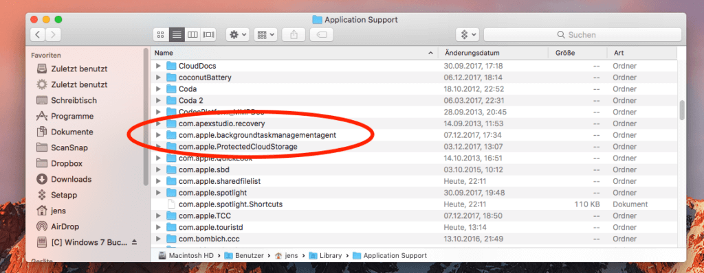 Hier findet ihr den Ordner ~/Library/Application Support/com.apple.backgroundtaskmanagementagent/ - darin befindet sich die korrupte Datei.