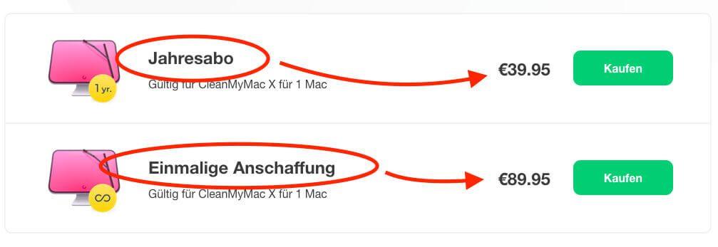 Erstmals gibt es bei CleanMyMac sowohl ein Jahesabo als auch einen einmaligen Kaufpreis. Ich neige bei solchen Sachen immer zum einmaligen Kauf. ;-)