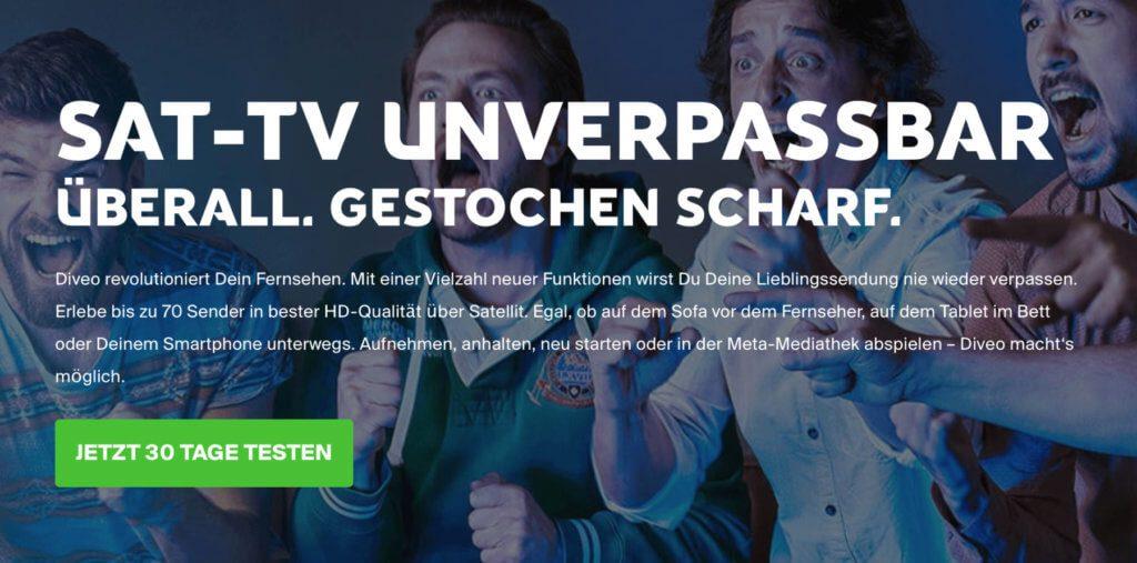Diveo macht unter anderem SAT-TV unverpassbar - auch weitere Sender, Mediatheken sowie tausende Filme der Videothek sind immer und (mit Internet) überall abrufbar.