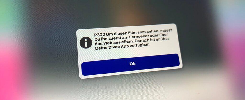 Möchte man sich einen Film der Videociety-Top50-Liste anschauen, wird man darauf hingewiesen, dass man diesen extern leihen muss, um ihn dann in der Diveo-App anzuschauen.