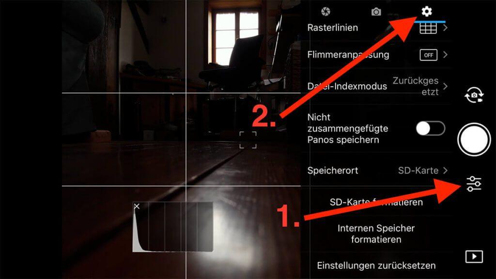 In der DJI GO 4 App, klickt man erst rechts auf die Einstellungen, dann oben auf das Zahnrad.