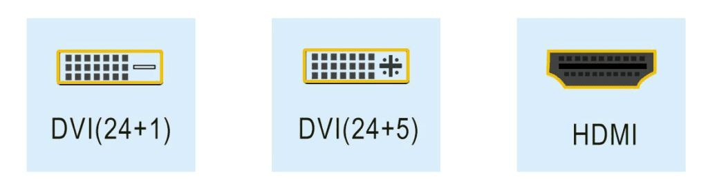 Unterschiede der DVI Stecker: DVI-D (24+1) oder DVI-I (24+5). Daneben findest du noch den HDMI-Stecker.