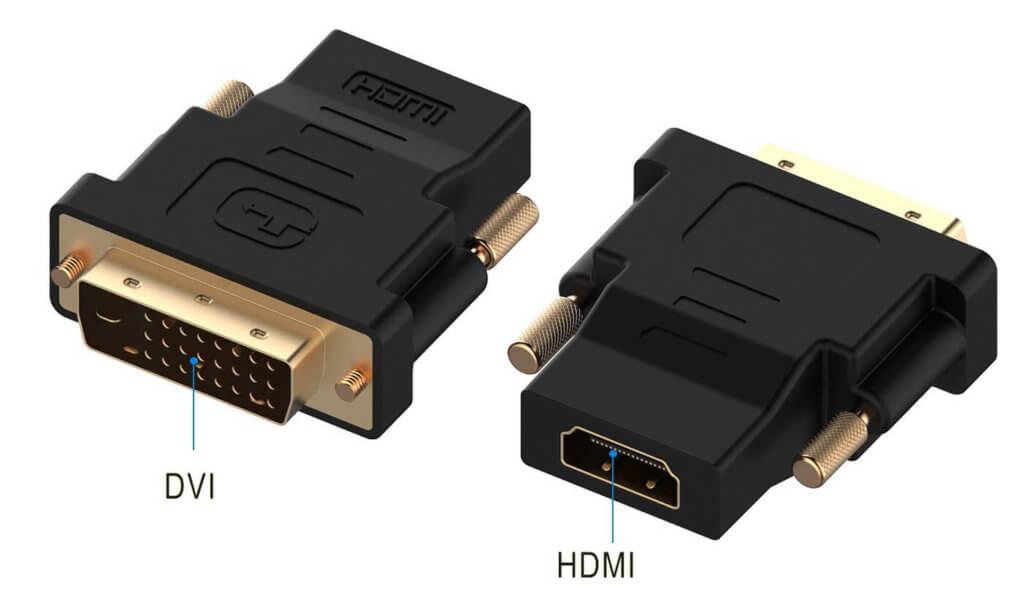 DVI- auf HDMI-Adapter, wie dieser hier von Rankie (siehe unten), weisen auf der einen Seite einen DVI-Stecker (hier DVI-D) und auf der anderen eine HDMI-Buchse auf.