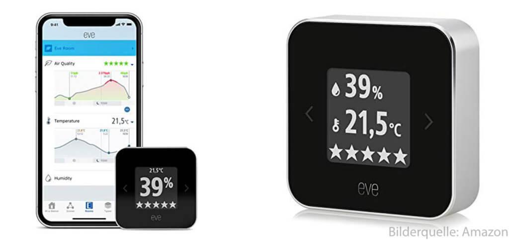 Das Elgato Eve Room aus 2018 lässt sich per HomeKit mit der Home App auf dem Apple iPhone koppeln.