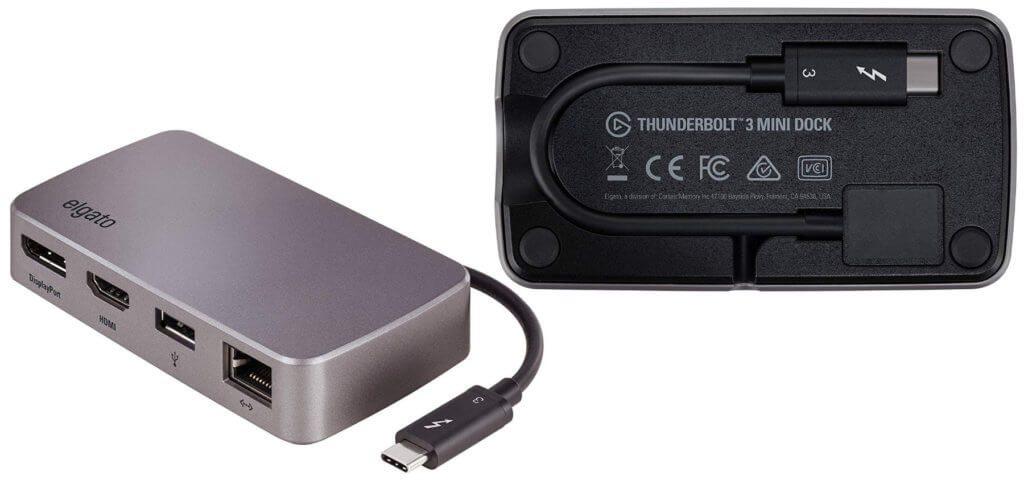 Das Elgato Thunderbolt 3 Mini Dock ist ein Adapter für HDMI, DisplayPort,  USB sowie Ethernet. Der Datentransfer ist bis 40 GBit/s möglich.