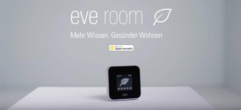 Eve Room 2, die zweite Generation des Messgeräts für die Luftqualität zuhause, zeigt in Echtzeit die Werte von Thermometer, Hygrometer und VOC Luftgütesensor.