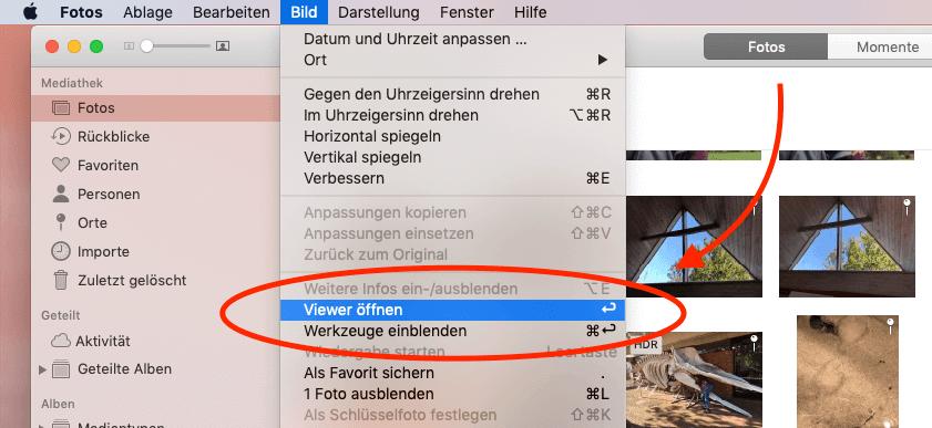 """Fotos lassen sich in der Fotos-App nur noch mit der """"Enter""""-Taste öffnen. Die Leertaste für Quick Look funktioniert leider nicht mehr… hoffentlich nur zeitweise bis zum nächsten Bugfix."""