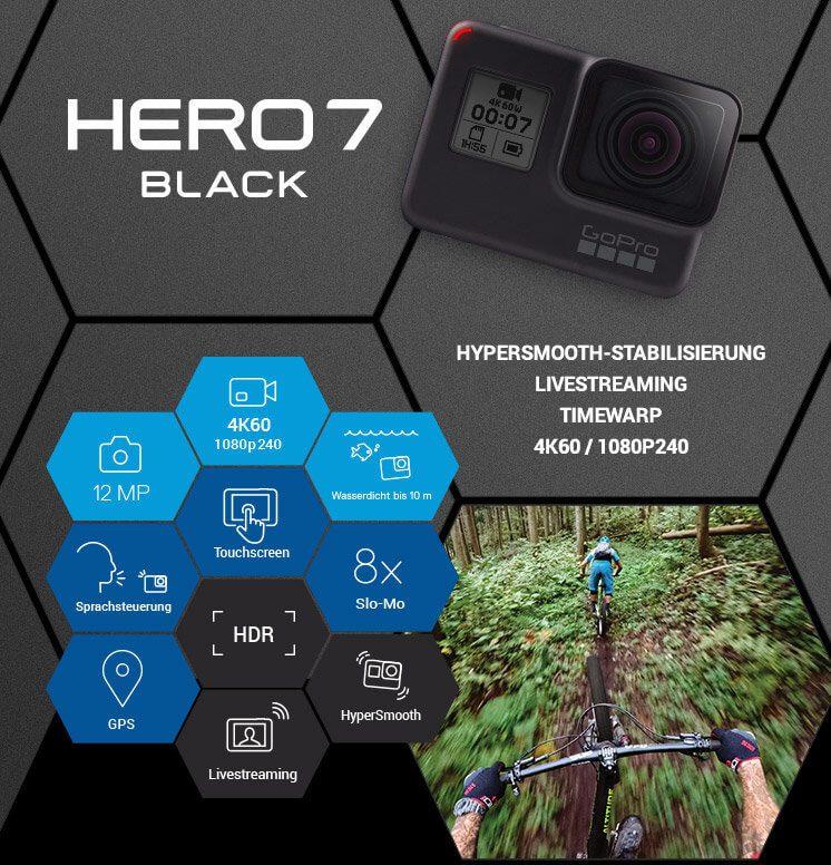 Die GoPro HERO7 Black ist DIE Profi-Action-Cam 2018! Mit Gimbal-ähnlicher Bildstabilisierung, Super Slo-Mo und weiteren coolen Features überzeugt sie auch anspruchsvollste Nutzer. Hero 7 Schwarz