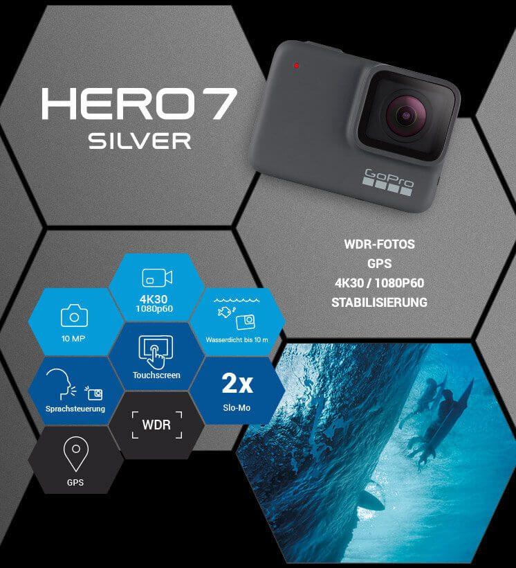 Mit der GoPro HERO7 Silver bekommt ihr schon mehr Leistung sowie weitere Funktionen. Hero 7 Silber