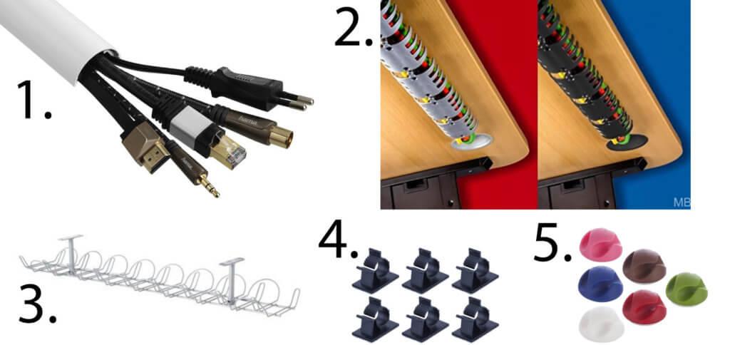 Kabelkanal, Kabelclips, Kabelablage oder Kabelspirale - die Kabelführung am Schreibtisch kann individuell realisiert werden.