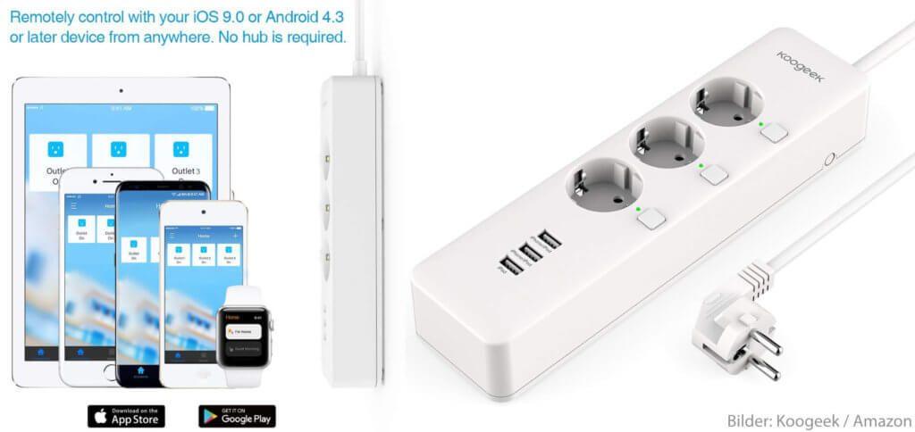 Die Smarte Koogeek Steckdosenleiste mit drei Schuko-Dosen und USB-Ports kann per WLAN und HomeKit ins Smart Home eingebunden werden. Sprachsteuerung per Siri, Nutzung in Szenen und Zeitpläne bzw. Timer sind möglich.