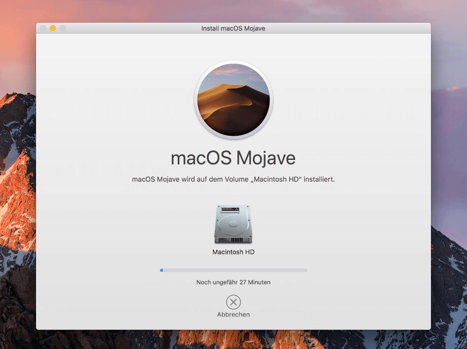 Schnelle Installation: in 27 Minuten ist Mojave bei mir auf der Systemplatte installiert.