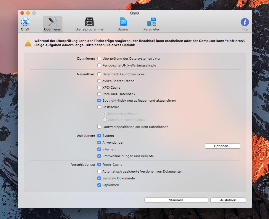 Auch in OnyX, einer App für die Bereinigung der Macintosh Festplatte, ist die Erneuerung der Spotlight-Indizierung möglich.