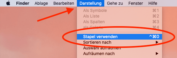 """Mit einem Klick mehr Ordnung auf dem Schreibtisch. Die Funktion """"Stapel"""" sammelt Dateien auf dem Desktop nach Dateitypen oder anderen Kriterien in Häufchen zusammen."""