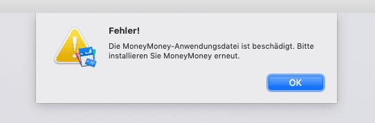Hat man nicht das letzte Update von MoneyMoney gemacht, quittiert das Programm unter Mojave den Start mit dieser Fehlermeldung.