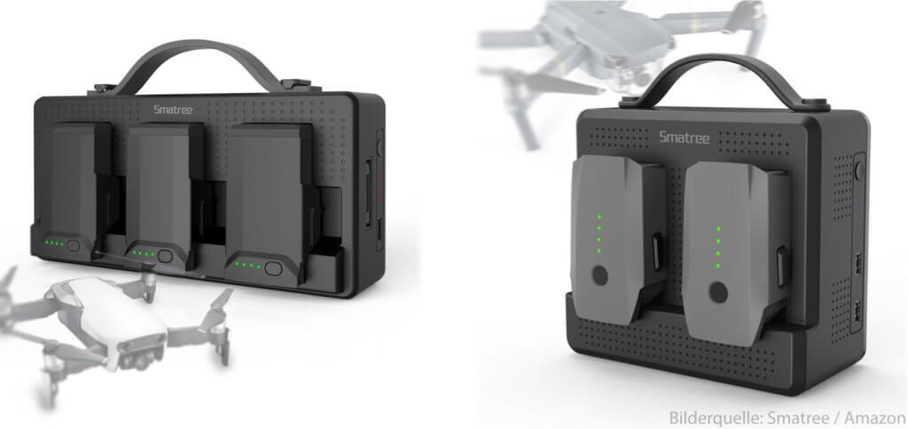 Die Smatree Ladestationen dienen als Powerbank für die DJI Intelligent Flight Battery von Mavic Air bzw. Mavic Pro (Platinum). Auch Smartphone, Tablet und Fernbedienung der Drohnen können damit mobil aufgeladen werden.