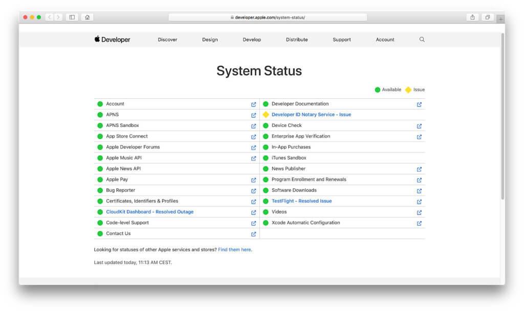 Der System Status ist das Äquivalent des obigen Angebots, allerdings speziell für die Entwickler-Dienste und Developer Tools von Apple.