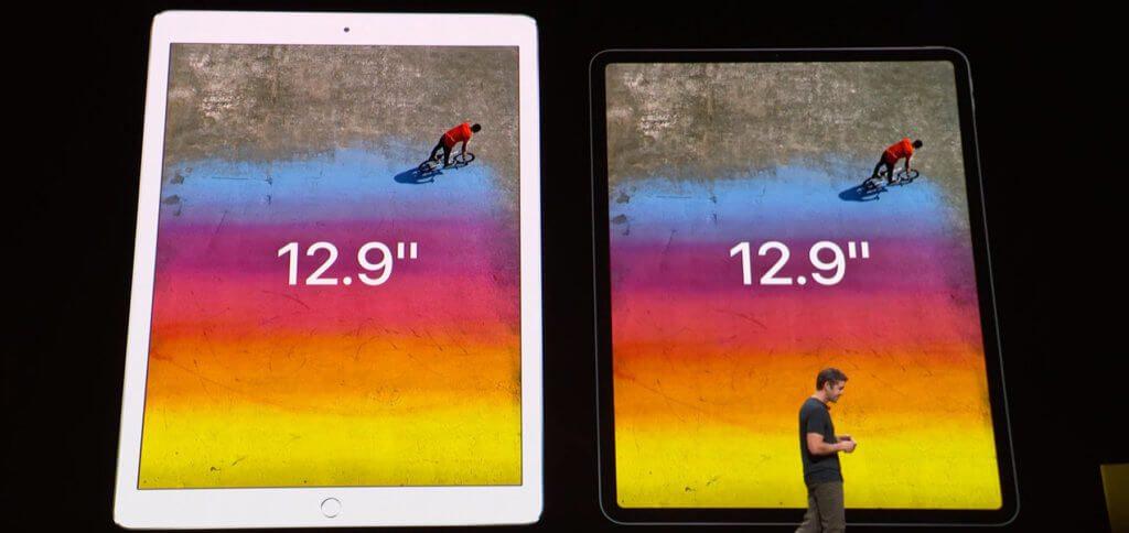 """Im Vergleich zum Vorgänger ist das neue """"große"""" iPad Pro zwar kleiner, bietet aber die gleiche Display-Größe (mit höherer Auflösung)."""