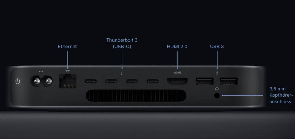 Die Rückseite des Mac Mini 2018. Was haltet ihr von den technischen Daten, der Leistung und den Ports?