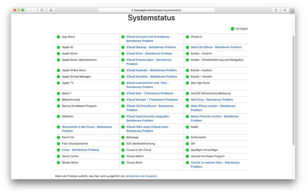 Der Apple Systemstatus: Sind die Dienste aus Cupertino verfügbar, durch ein Problem gestört oder komplett ausgefallen? Hier seht ihr es und könnt zudem Down Times melden!