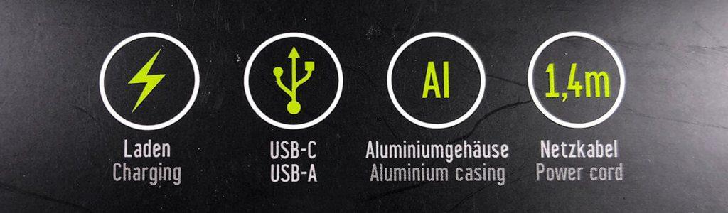 """Die """"Keyfeatures"""" des Artwizz-PowerPlug: ALugehäuse, USB-A und USB-C, natürlich Laden und ein Netzkabel. :D"""