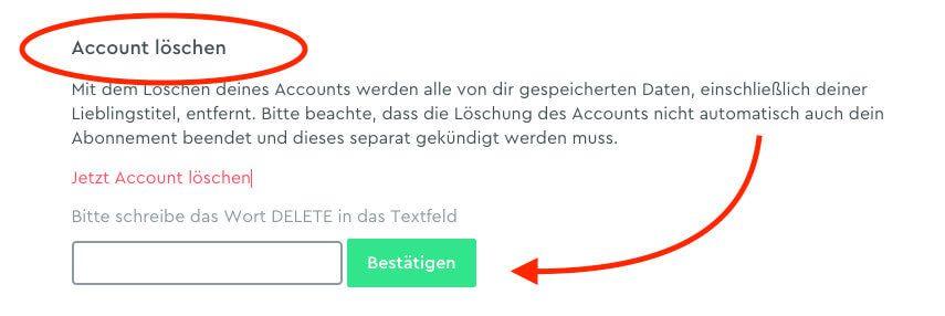 """Scrollt man auf der Seite """"Einstellungen"""" runter, gelangt man zum Absatz """"Account löschen"""", wo man den Text """"Jetzt Account löschen"""" anklickt und dann den Vorgang mit einer Bestätigung durch Eingabe von dem Wort """"DELETE"""" und dem Drücken des Buttons bestätigen kann."""