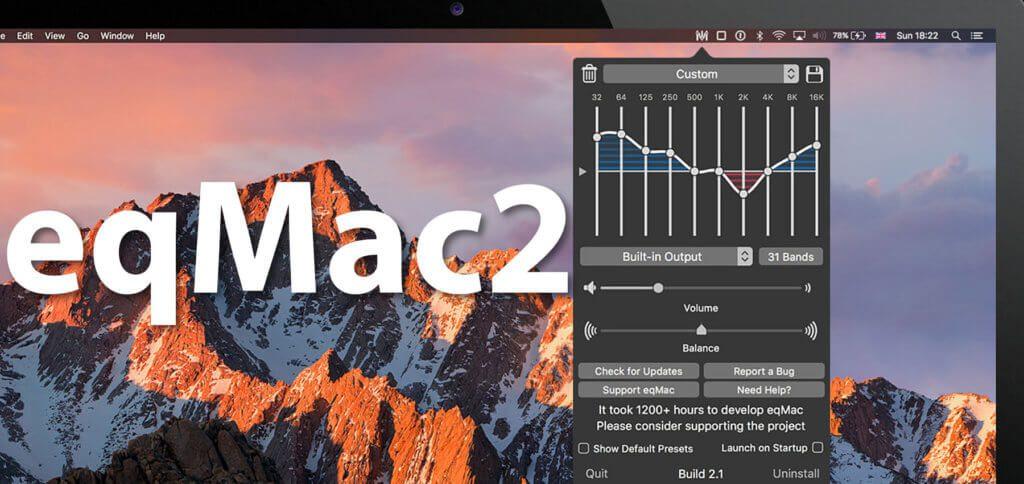 Die App eqMac2 ist ein Equalizer-Tool für die macOS-Menüleiste. Per Presets oder eigenen EQ-Einstellungen lassen sich Musik, Sprache, Filme und weiteres Audio gehaltvoller wiedergeben.